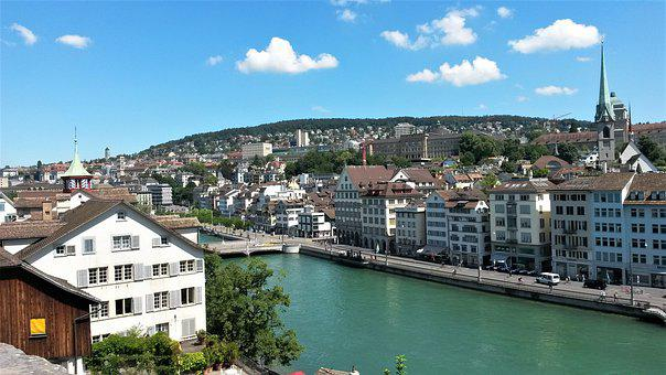 Zurich, City Center, Buildings, Old Town, River, Water