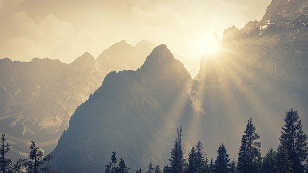 Alpine, Mountains, Sunbeam, Panorama, Silhouette