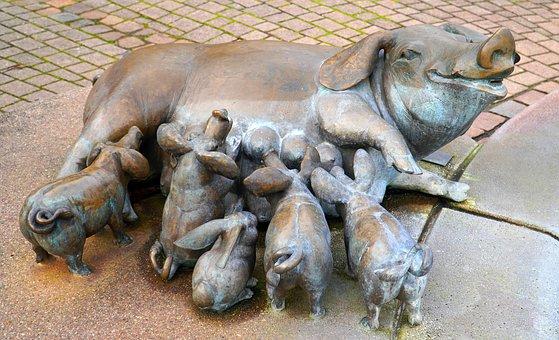 Sculpture, Pigs, Art, Statue, Bronze, Animal