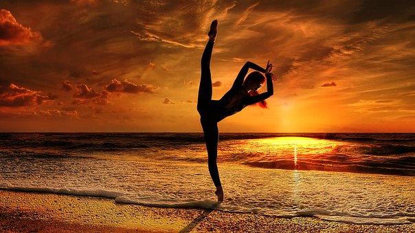Yoga, Balance, Training, Pose, Asana, Female, Sunset