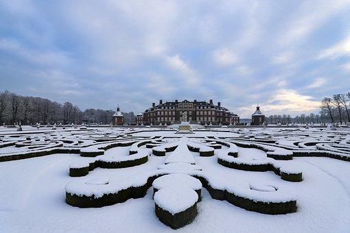 Castle, Winter, Snow, Baroque Garden, North Churches