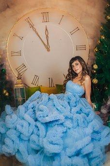 Girl, Beauty, Christmas, New Year's Eve, Curly Hair