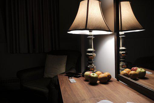 Hotel, Lamp, Bedroom, Fruit, Nightstand, Dark Room
