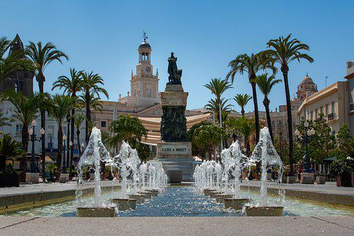 Spain, Andalusia, Cadiz, Building, Fountain