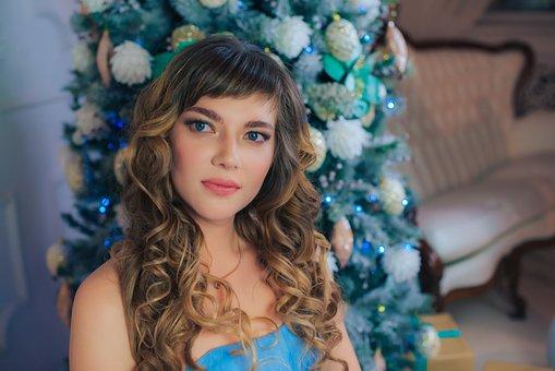 Beauty, Christmas, New Year's Eve, Curly Hair