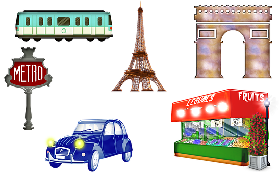 Paris Landmarks, Arc De Triomphe, Eiffel Tower, Metro