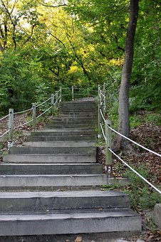 Hiking Trails, Esplanade, Forest, Mountain, Stairs