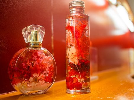 Flowers, Bottle, Petal, Red, Oil, Cosmetics, Massage