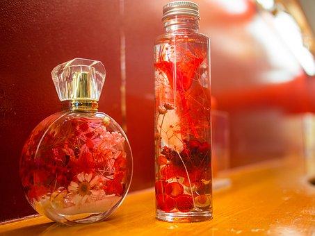 Flowers, Bottle, Petal, Red, Oil, Cosmetics, Massage