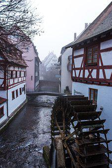 Fog, Mill Wheel, Wood, Ulm, City, Structures, Truss
