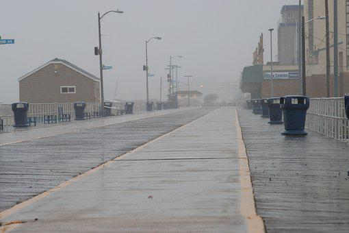 Boardwalk, Wildwood, Overcast, Shore, Clouds, Foggy