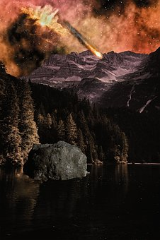 Photoshop, Nature, Forest, Mountains, Comet