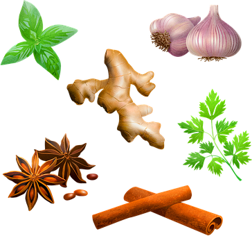 Spices, Garlic, Peppermint, Cinnamon, Food, Cooking