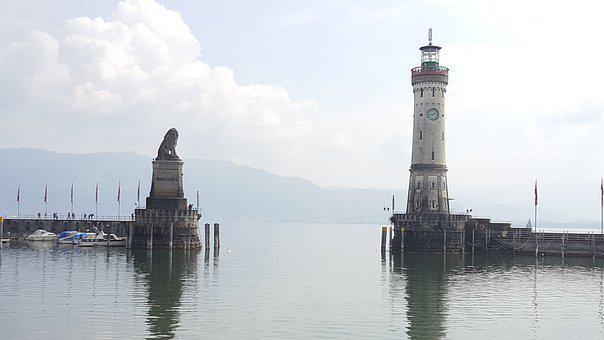 Lindau, Germany, Europe, Lighthouse, Lake, Water