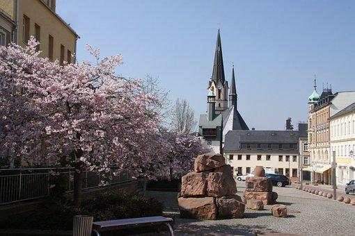Burgstädt, Spring, Towers, Market, Pharmacy