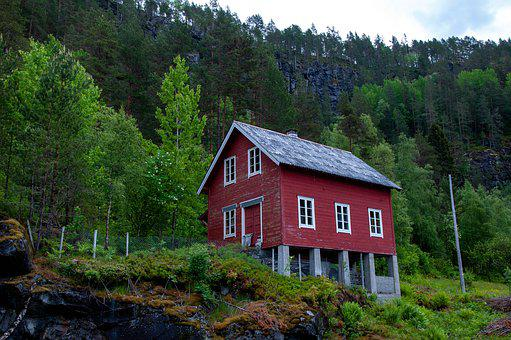 Chalet, Building, House, Mountain, Norway, Cold, Cabin