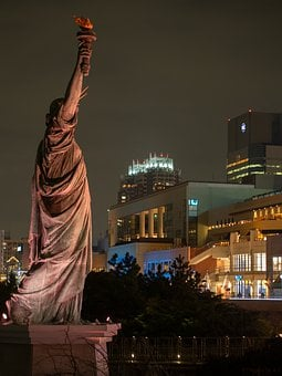 The Statue Of Liberty, Odaiba, Night View, Night, Tokyo