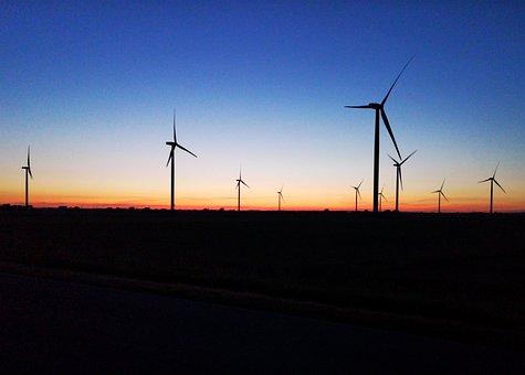 Nordfriesland, Sunrise, Windmills, Sky, Nature