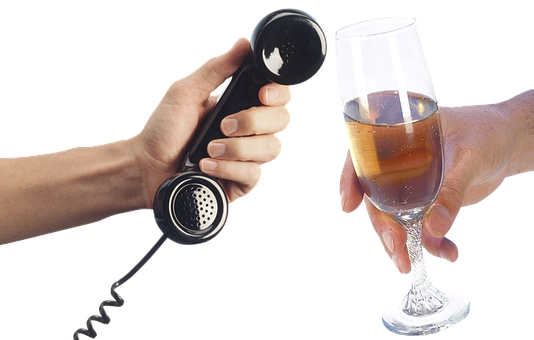 Hands, Fingers, Handset, Old Phone, Call, Glass, Wine
