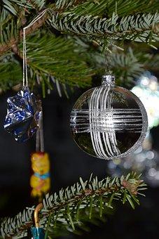 Christmas Bauble, Star, Poinsettia, Christmas, Fir Tree