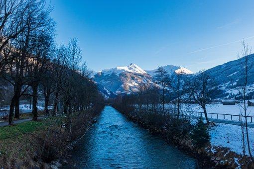 Bad Hofgastein, Salzburg, Austria, River, Trees, Snow