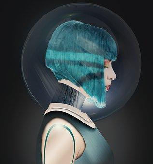 Woman, Girl, Sci Fi, Face, Helmet, Robot, The Future