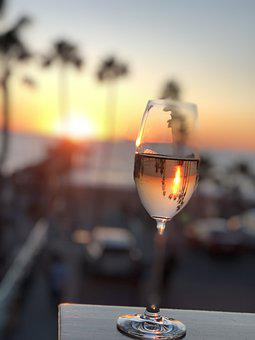 At Dusk, Palm Trees, Sea, Beach, Champagne, Wine Glass