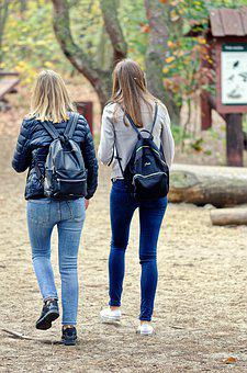 Girls, Women, Young, The Hair, Long, Blond, Backpacks