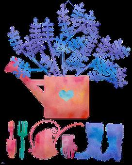 Watercolor Garden Supplies, Boots, Garden, Water Can