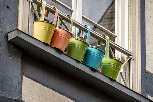 Flower Pots, Color, Colorful, Decoration, Window