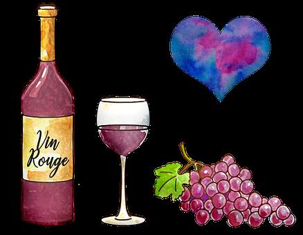 Wine, Watercolor, Red Wine, Wine Glass