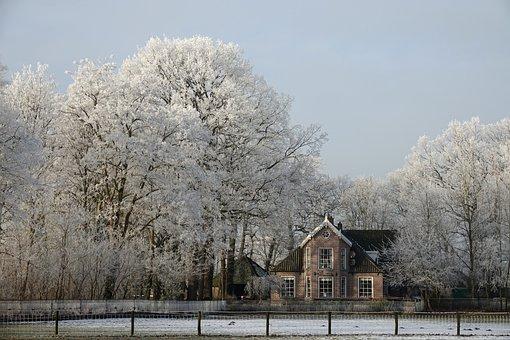 Winter, Snow, Ice, Manor, Estate, Frozen
