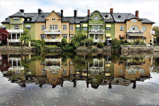 Buildings, Water, River, Architecture, House
