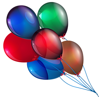 Balloons, Colorful, Red, Green, Gold, Blue, Sky