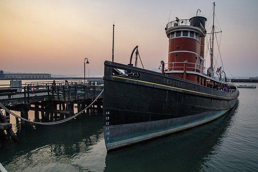 San Francisco, Pier, Boat, Glow