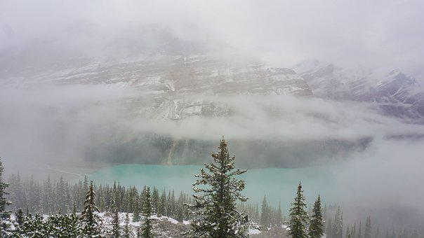 Peyto Lake, Canada, Lake, August, Snow, Cloud Haze