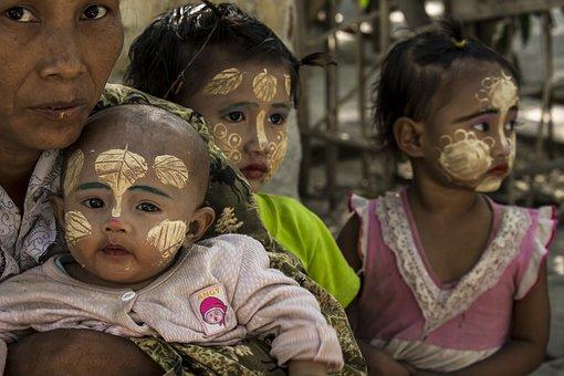 Art, Paint, Face, Beggar, Myanmar, Children, Asia