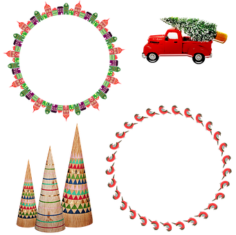 Christmas Wreaths, Christmas Trees, Old Truck With Tree
