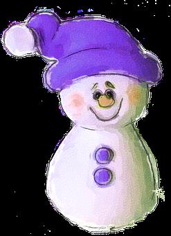 Snowman, Clip Art, Clipart, Purple, Christmas, Winter