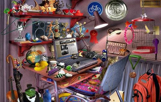 Computer, Room, Desk, Toys, Game