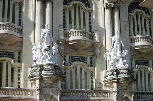 Cuba, Havana, Statue, Decoration, Columns, Architecture