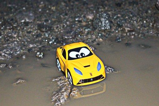 Lost, Scared, Car, Yellow, Fog, Road, Dark, Surprise