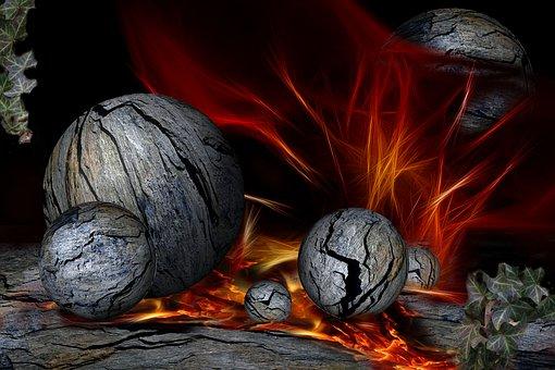 Stone Balls, Rock, Composition, Balls, Nature, Fire