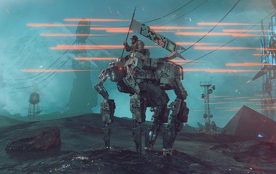Scifi, War, Future, Futuristic, Robot, Gunfire, Combat