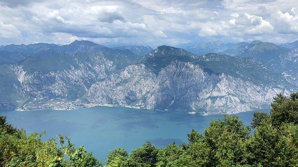 Garda, View, Alpine, Panorama, Italy, Mountains, Limone