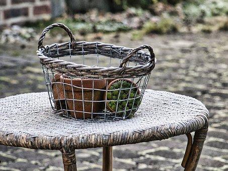 Gartendeko, Basket, Still Life, Flower Basket