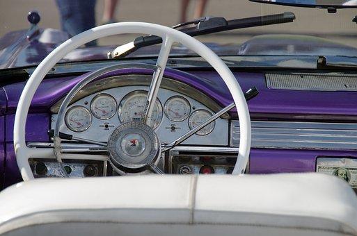 Cuba, Havana, Rattletrap, American, Dashboard, Vehicle