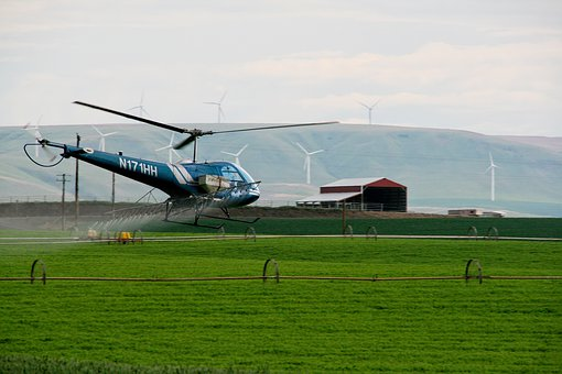 Helicopter, Spraying, Farming, Greenfield, Agriculture