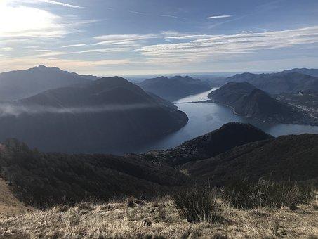 Lake Lugano From Monte Boglia, Alpine Route, Alps