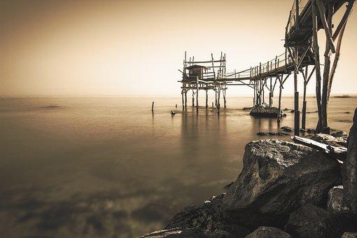 Overflow, Sea, Trabocchi, Abruzzo, Fishing, Landscape